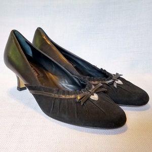 Brighton Zora leather suede heels w/ heart charm